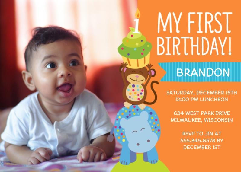 Birthday Greeting Cards 5x7 Folded Cards, Premium Cardstock 120lb, Card & Stationery -Animal Cupcake Party Birthday - Boy