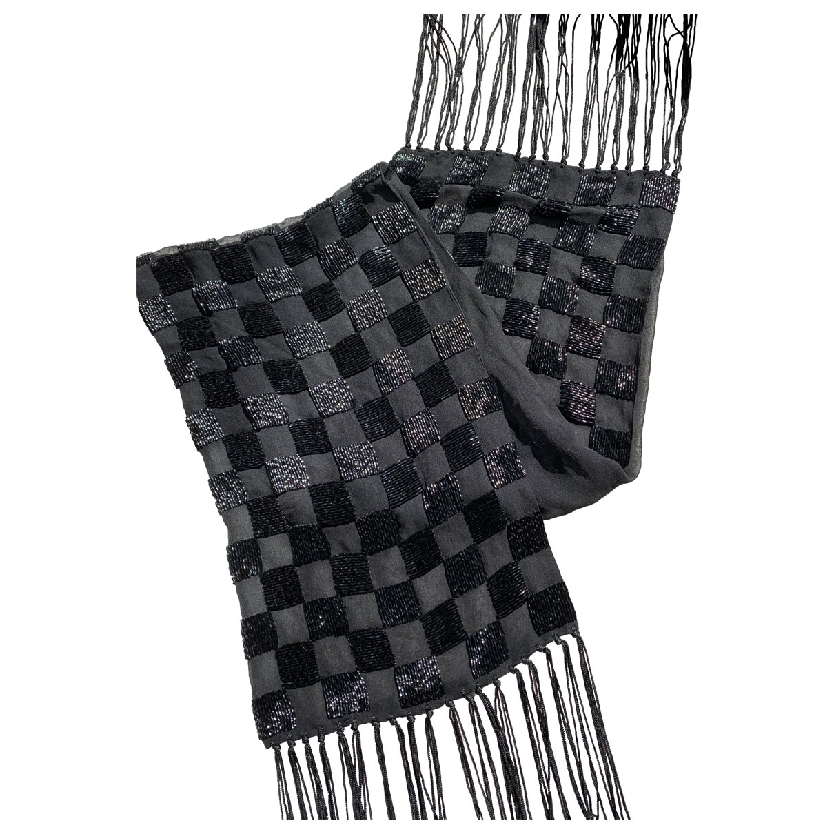 Non Signé / Unsigned \N Black Silk scarf for Women \N
