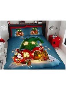 Clown House Christmas Duvet Cover Set 3D Printed 4-Piece Bedding Sets