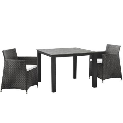 Junction Collection EEI-1742-BRN-WHI-SET 3 PC Outdoor Patio Dining Set with Synthetic Rattan Weave  Powder Coated Aluminum Frame  Fabric Upholstery
