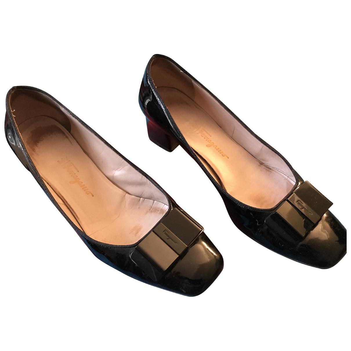Salvatore Ferragamo N Black Leather Heels for Women 39 EU