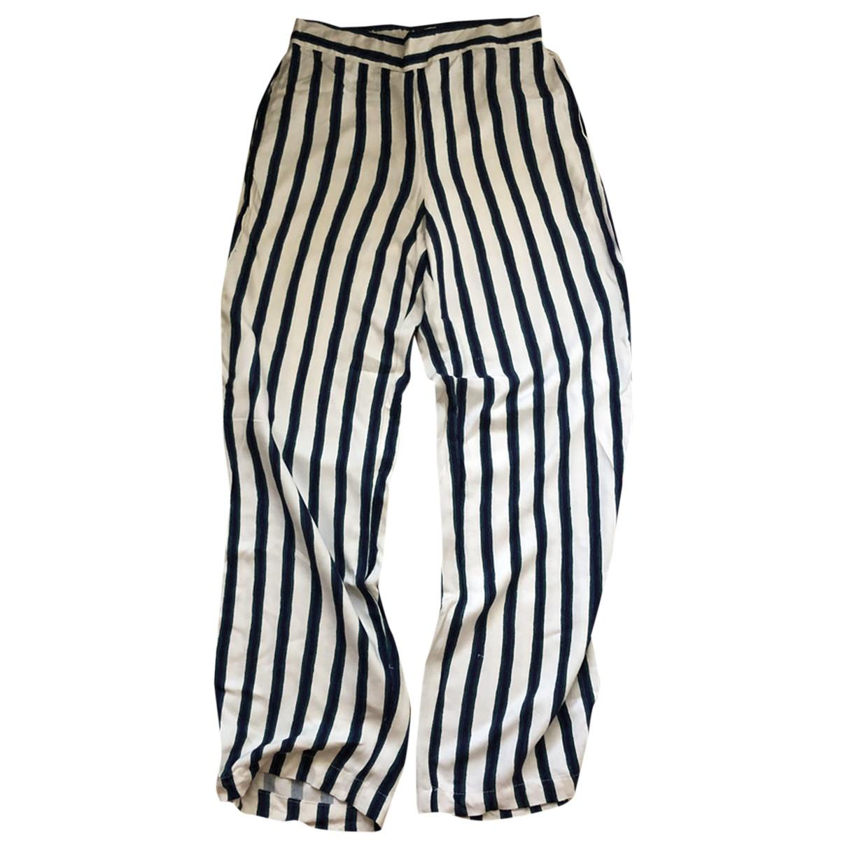 Mango N White Cotton Trousers for Women 36 FR