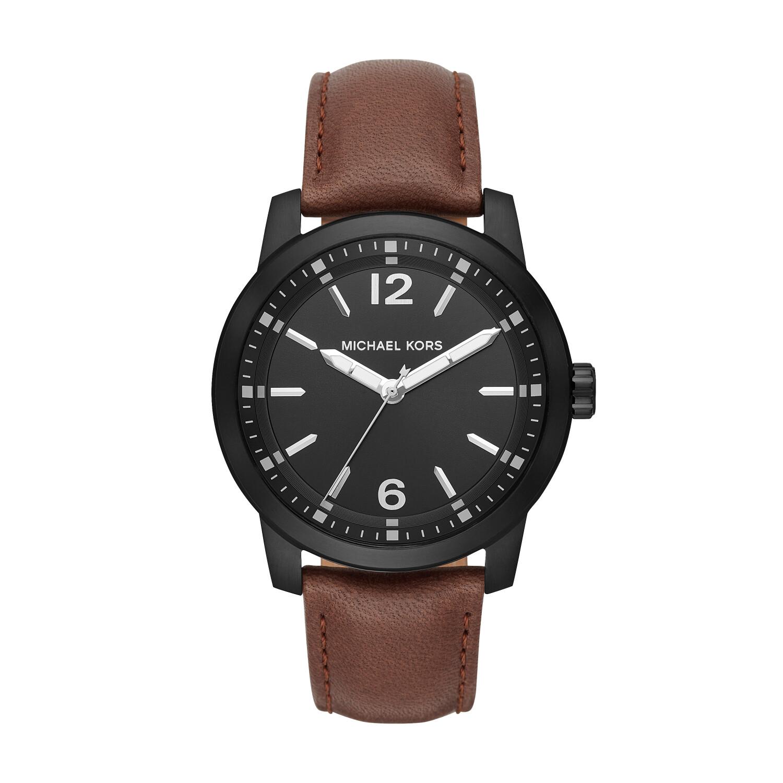 Michael Kors Men's Vonn MK8651 Black Leather Quartz Fashion Watch