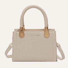 Croc Embossed Double Handle Satchel Bag