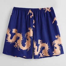 Men Chinese Dragon Print Satin Sleep Shorts