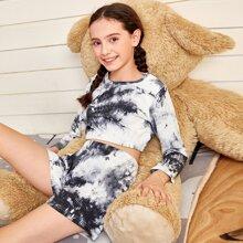 Schlafanzug Set mit Batik Muster