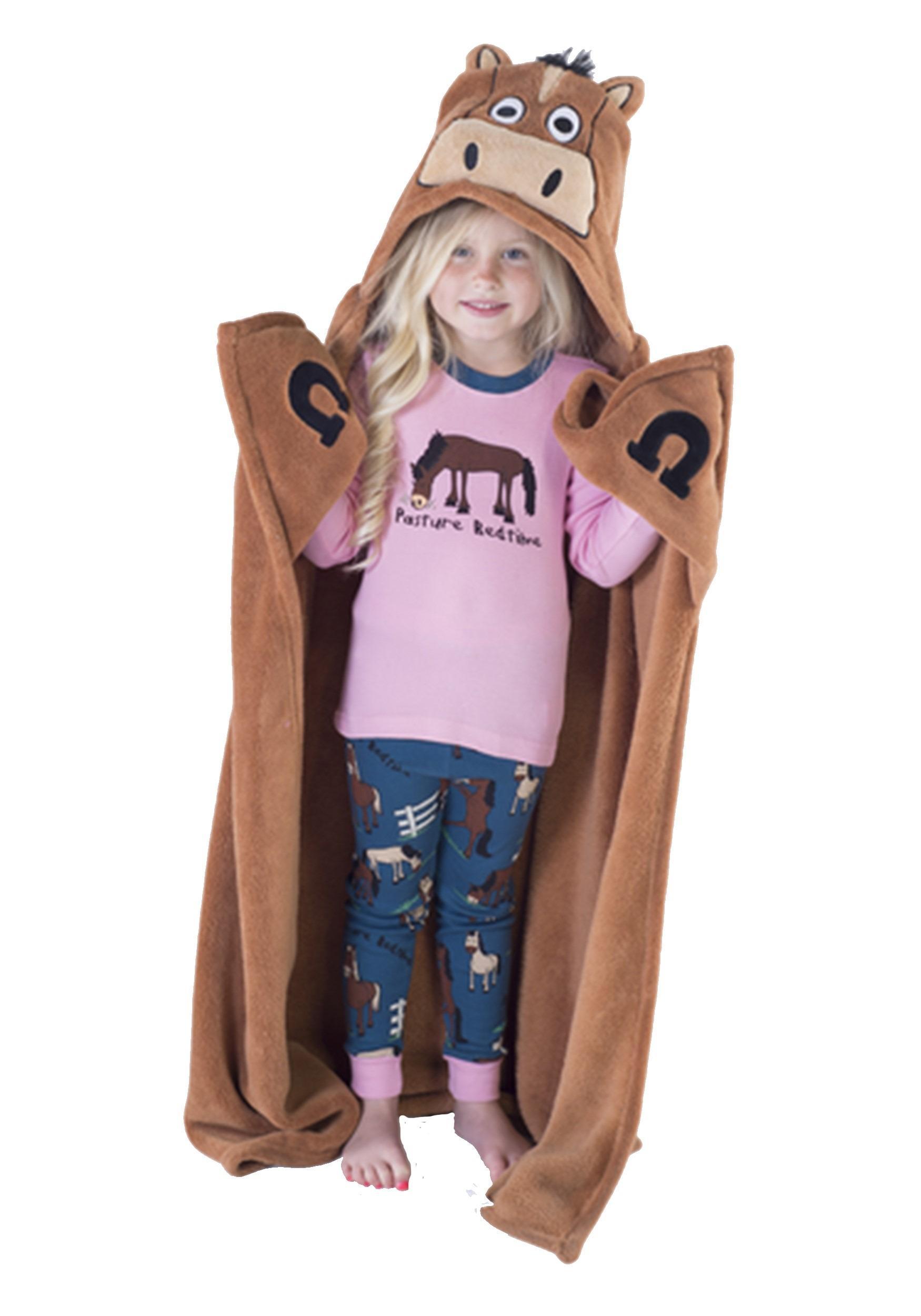 Cute Brown Horse Critter Kids Hooded Blanket