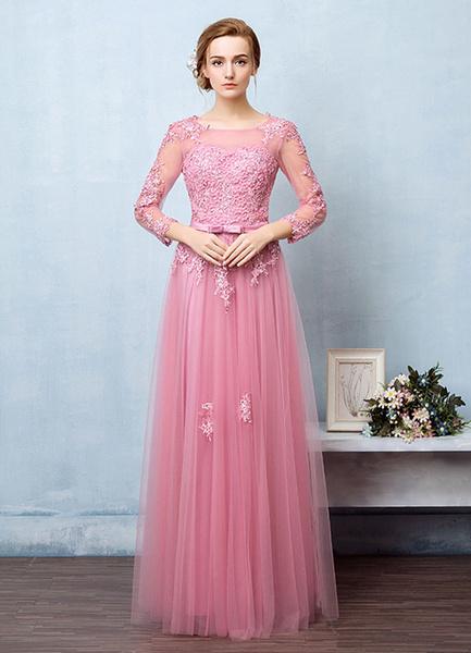 Milanoo Vestido de noche de tul con manga larga con escote redondo con flor