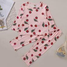 Schlafanzug Set mit Kirsche Muster
