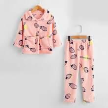Homewear de niña pequeña Bolsillo Letras Dulce
