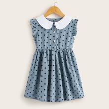 Toddler Girls Contrast Collar Polka Dot Shirt Dress