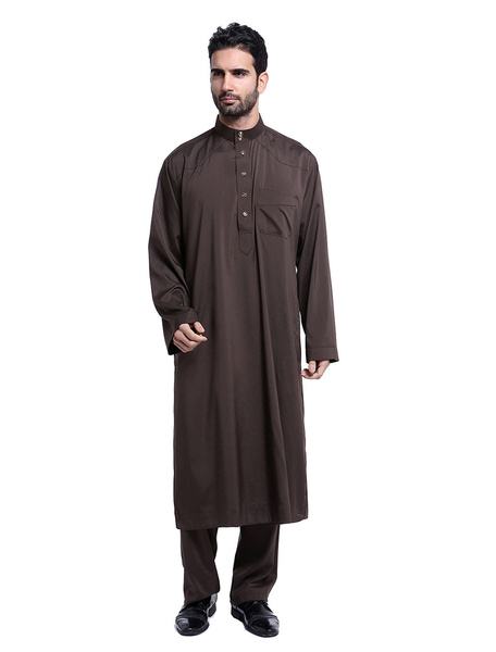 Milanoo Arabian Men Clothing Stand Collar Long Sleeve Button 2 Piece Muslim Outfit Set