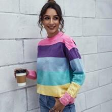 Drop Shoulder Rainbow Colorblock Sweater