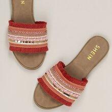 Adorned Crystal Sequin Band Flat Slide Sandals