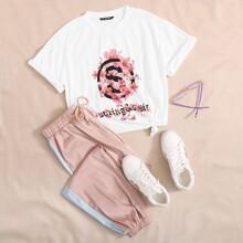 T-Shirt mit Blumen, Buchstaben Grafik & Jogginghose Set