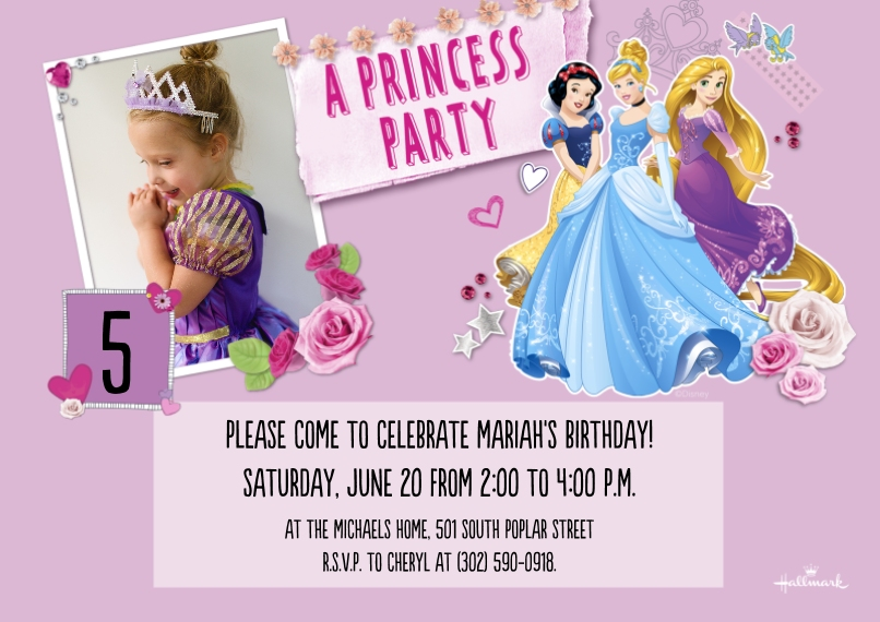 Kids Birthday Party Invites 5x7 Cards, Premium Cardstock 120lb with Rounded Corners, Card & Stationery -Disney Princess Party Collage
