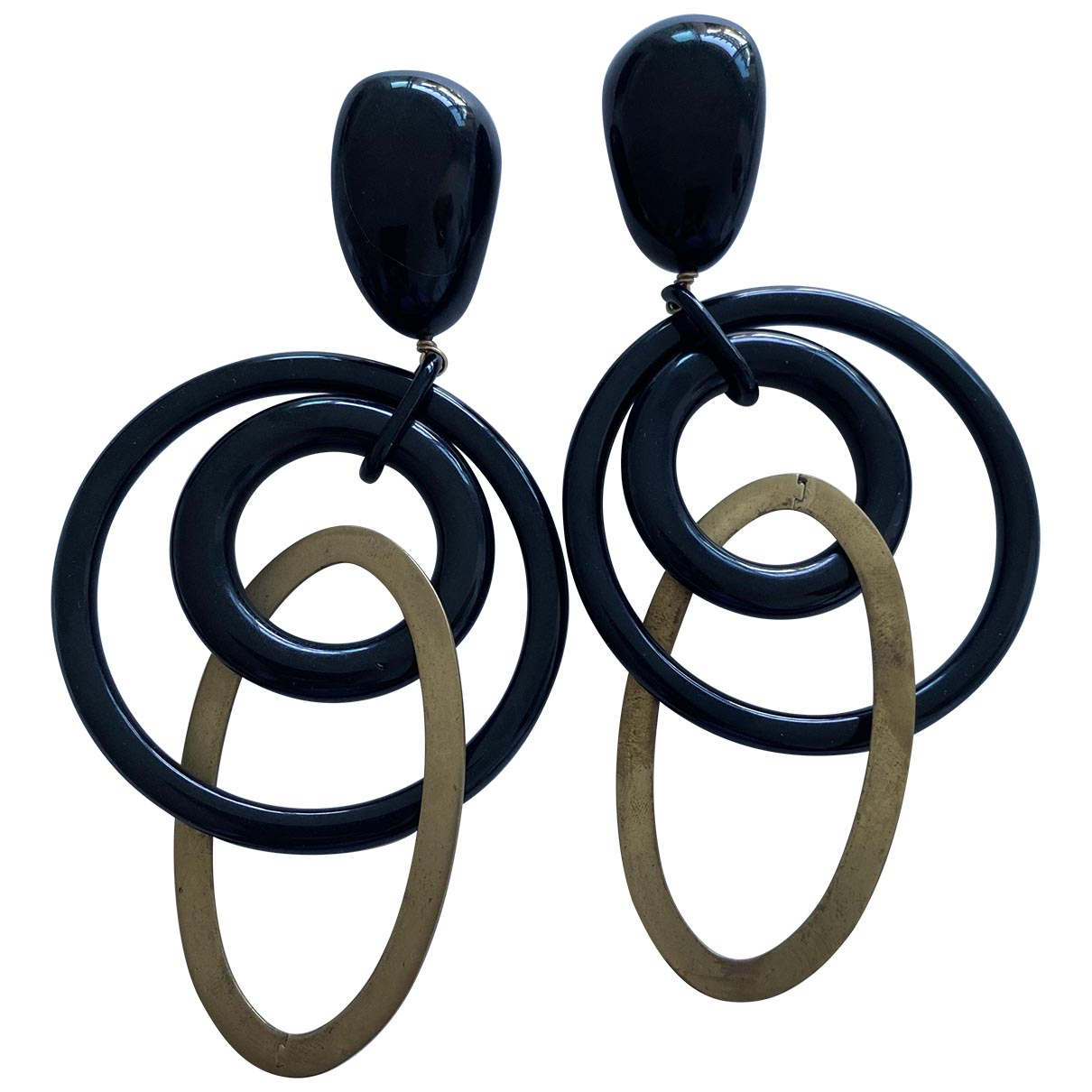 Uterque - Boucles doreilles   pour femme en metal - noir