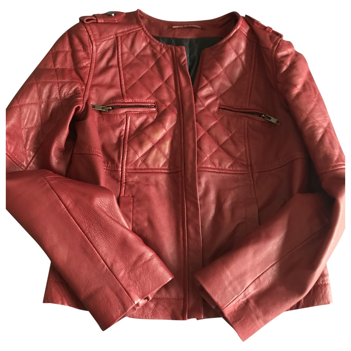 Comptoir Des Cotonniers - Blouson   pour femme en cuir - rouge