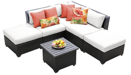 Barbados BARBADOS-06f-WHITE 6-Piece Wicker Patio Set 06f with 1 Corner Chair  2 Armless Chairs  2 Ottomans and 1 End Table - Wheat and Sail White