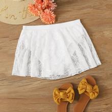 Contrast Lace Bikini Skirt