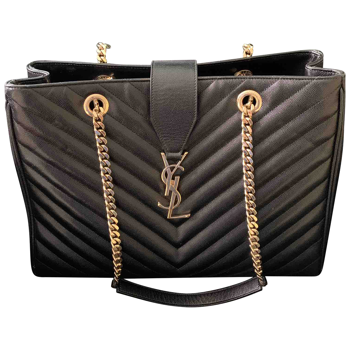 Saint Laurent Shopping monogramme Black Leather handbag for Women \N