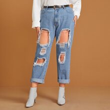 Plus Destroyed Ripped Detail Bleach Wash Jeans Without Belt