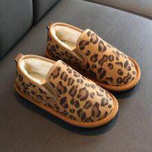 Toddler Boys Leopard Fluffy Flats