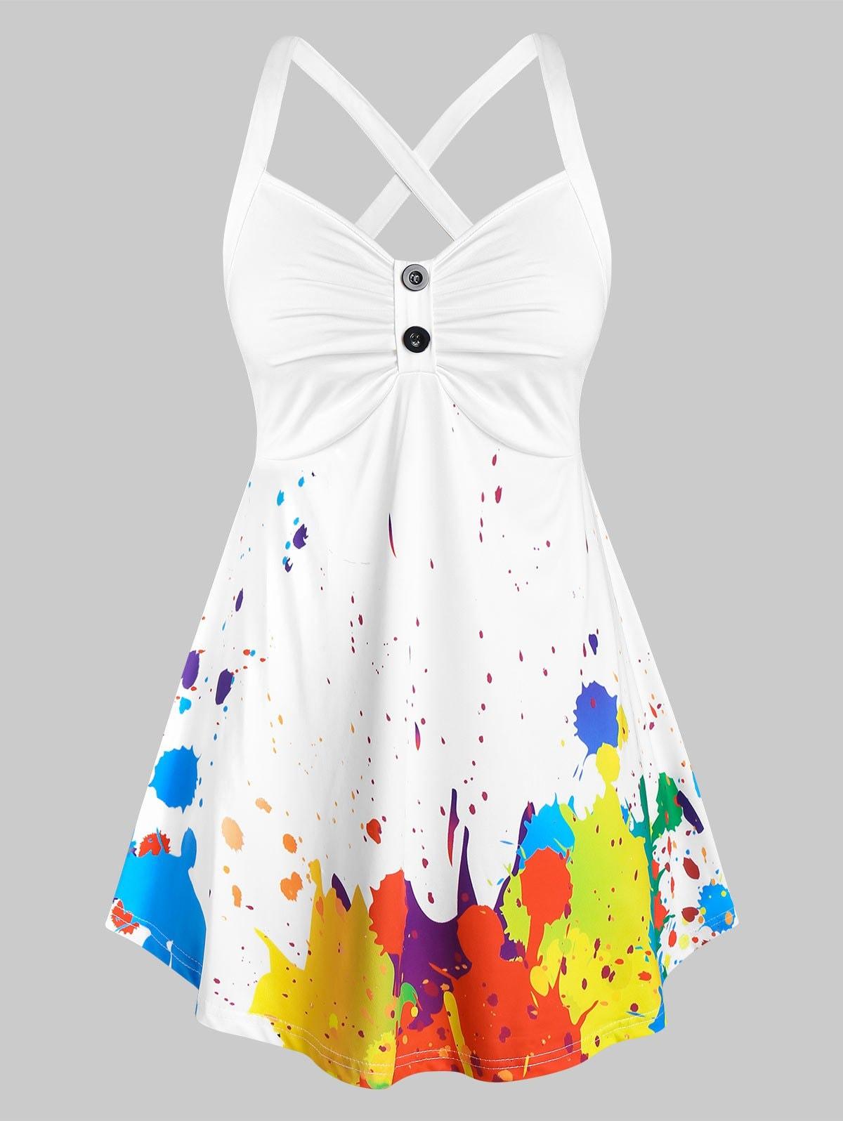Plus Size Splatter Paint Crisscross Ruched Tunic Tank Top