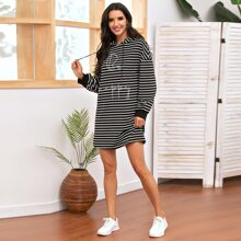 Letter Graphic Striped Sweatshirt Dress
