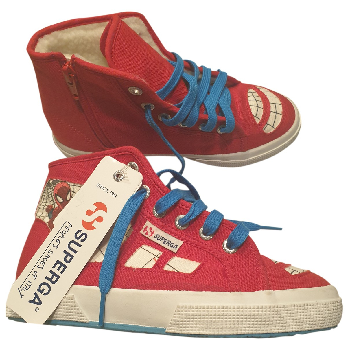 Superga N Red Cloth Trainers for Kids 2 UK