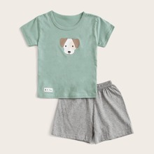 Toddler Boys Dog Print Tee With Short PJ Set