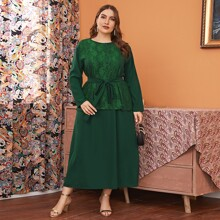 Plus 2 In 1 Lace Panel Belted Dress