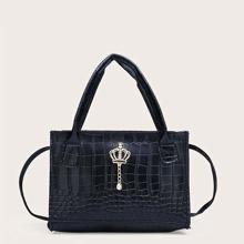 Bolsa cartera con diseño de cocodrilo con corona