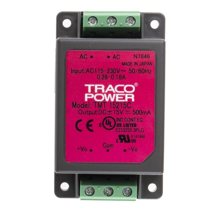 TRACOPOWER , 15W Embedded Switch Mode Power Supply SMPS, ±15V dc, Encapsulated, Medical Approved