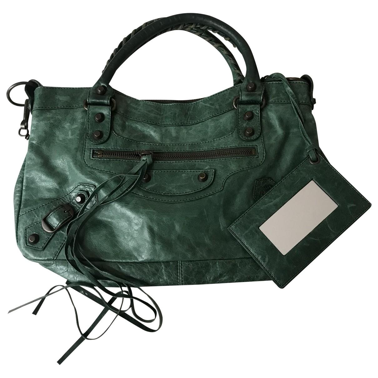 Balenciaga - Sac a main   pour femme en cuir - vert
