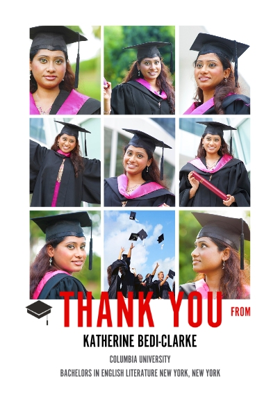 Graduation Thank You Cards 5x7 Cards, Premium Cardstock 120lb with Elegant Corners, Card & Stationery -The Grad Event Squares Thank You