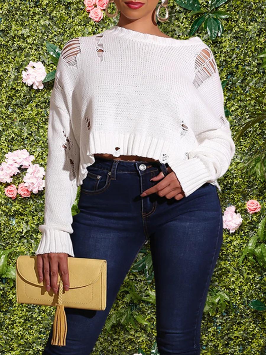 LW lovely Trendy O Neck Broken Holes White Sweater