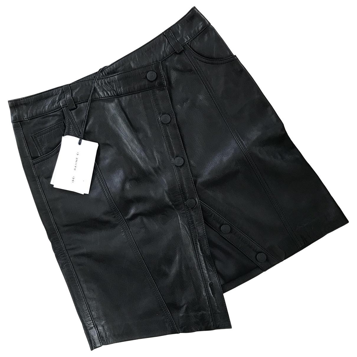 Raiine - Jupe   pour femme en cuir - noir
