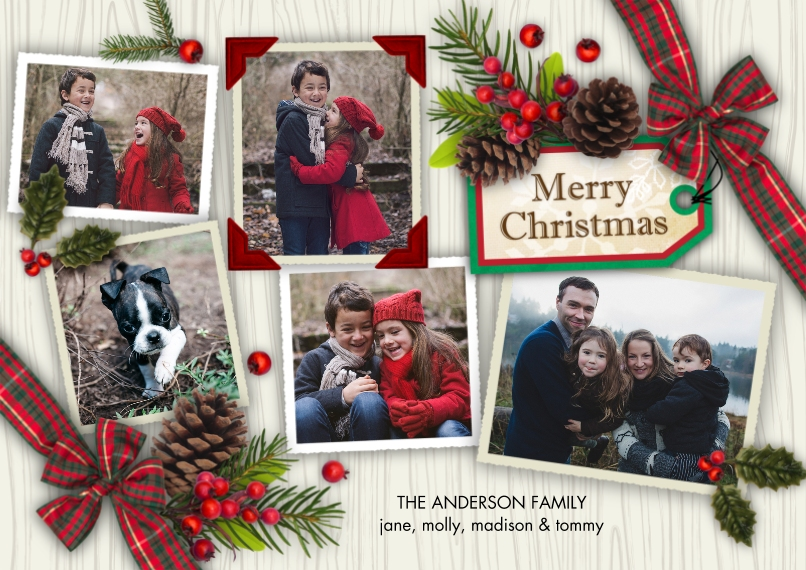 Christmas Photo Cards 5x7 Cards, Premium Cardstock 120lb with Rounded Corners, Card & Stationery -Christmas Tag Pine Cones