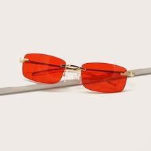 Rimless Rectangle Frame Sunglasses