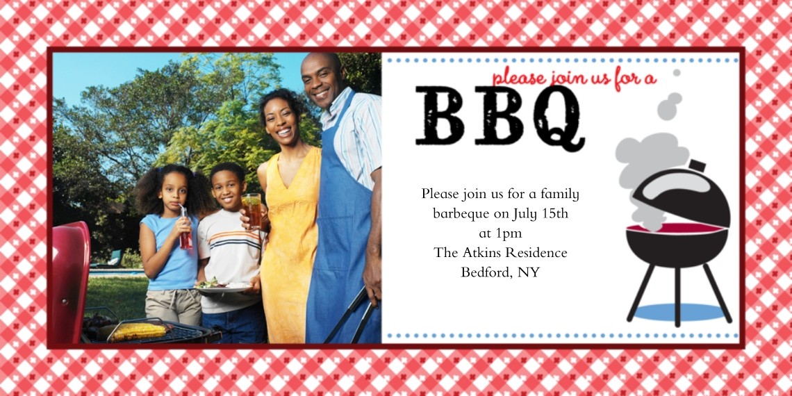Party Invitations 4x8 Flat Card Set, 85lb, Card & Stationery -Party Invite Barbeque