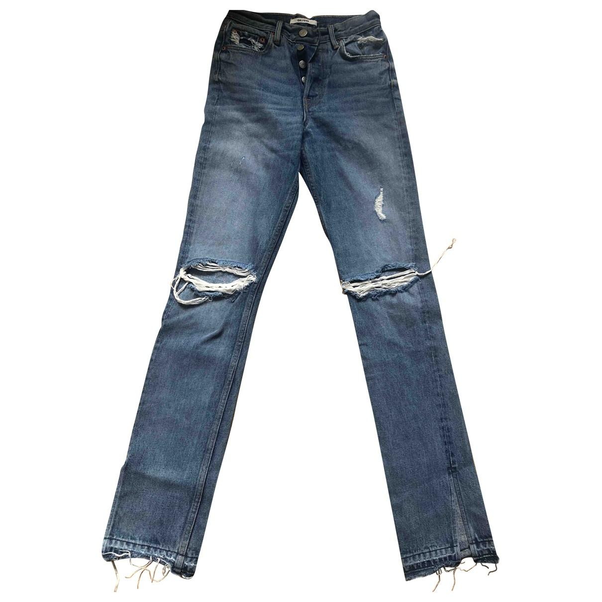 Grlfrnd \N Blue Cotton Trousers for Women 00 0-5