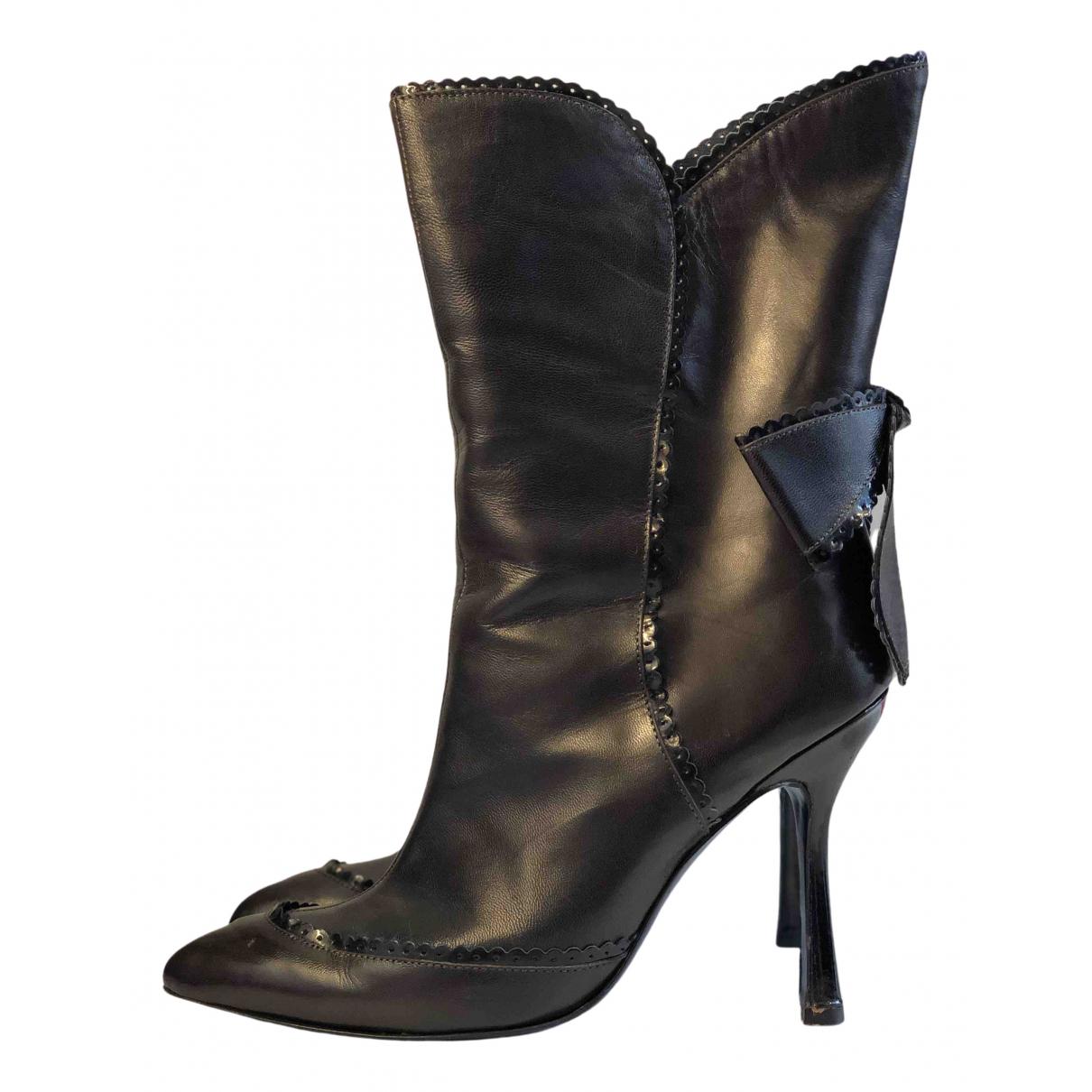 Emanuel Ungaro - Boots   pour femme en cuir - marron