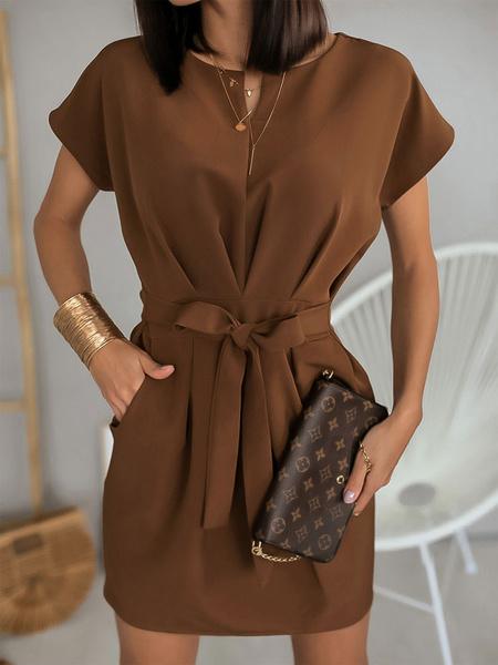 Milanoo Vestido de verano Faja de manga corta Vestido de trabajo sexy con bolsillos