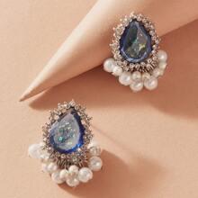 Pendientes grabados con diamante de imitacion con perla artificial 1 par