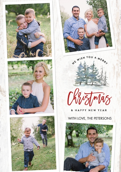 Christmas Photo Cards 5x7 Cards, Premium Cardstock 120lb with Rounded Corners, Card & Stationery -Christmas Rustic Trees by Tumbalina