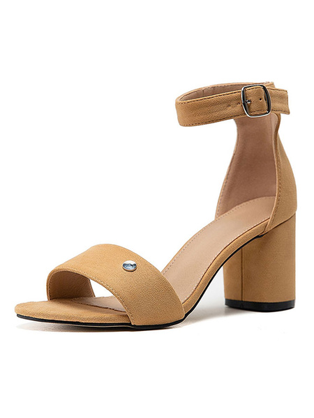 Milanoo Mid Heel Sandals Womens Open Toe Ankle Strap Block Heel Sandals