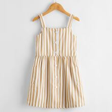 Toddler Girls Striped Button Front Dual Pockets Cami Dress