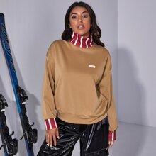 Striped Neck & Cuff Drop Shoulder Sweatshirt