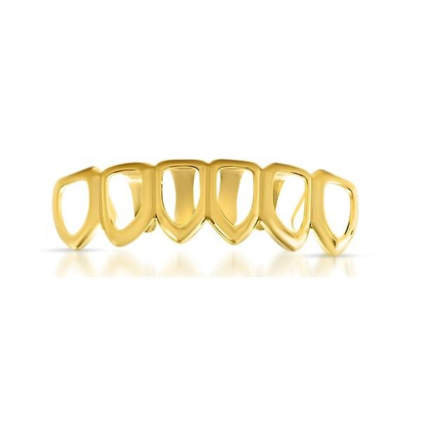 Gold Grillz with 6 Tooth Outline Bottom Teeth
